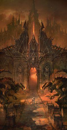 fantasy_dark — Personal work by sanghyun. Dark Fantasy Art, Fantasy Artwork, Fantasy Art Landscapes, Fantasy Concept Art, Fantasy City, Fantasy Castle, Fantasy Places, Fantasy Kunst, Fantasy Landscape