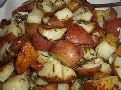 Oven-roasted, herbed breakfast potatoes.