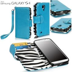 Samsung Galaxy S4 100% Genuine Leather Wallet Case with Card Slots and Premium Zebra Interior Design (Samsung Galaxy S4, Blue)
