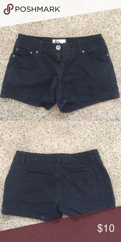 Black denim shorts Also available in white SO Shorts Jean Shorts
