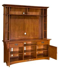 Home Gallery Furniture for Medium Wood, Artisan Ridge Entertainment Console w/ Entertainment Hutch