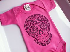 For Jenna: Day of the Dead Baby Clothes. Girls Pink and Black Bodysuit. Gothic Dia de los Muertos onesie top Tattoo Rockabilly gift for baby shower by BonesNelson on Etsy https://www.etsy.com/listing/188108921/day-of-the-dead-baby-clothes-girls-pink