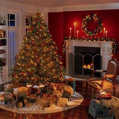 50 Most Beautiful Christmas Fireplace Decorating Ideas - Christmas Celebrations Christmas Living Rooms, Christmas Room, Christmas Scenes, Noel Christmas, Victorian Christmas, Country Christmas, All Things Christmas, Christmas Lights, Christmas Design