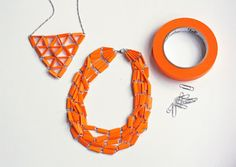 DIY necklaces = colored painter's tape + paperclips...and that's it! (optional clasps)
