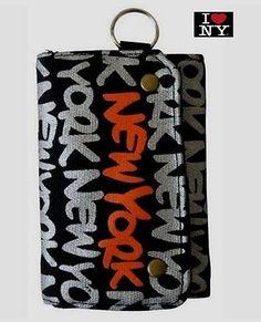 Robin Ruth Trendy New York Black & Sliver Canvas Wallet w/ key ring   See us on Instagram user #robinruthny