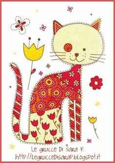 may have to applique this on a quilt! Photo Chat, Cat Quilt, Cat Crafts, Here Kitty Kitty, Cat Drawing, Doodle Art, Cat Doodle, Crazy Cats, Cat Art