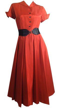 Paprika Red Taffeta Party Dress w/ Rhinestone Buttons circa 1940s - Dorothea's Closet Vintage