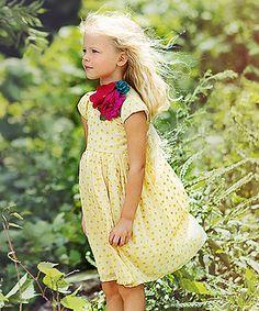 Joyfolie Yellow Swirl Vala Dress & Flower Pin - Toddler & Girls | zulily
