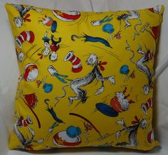 A Cat in the Hat pillow for Suess fans.  14 inch pillow made of 100% cotton with a zipper on the bottom for easy washing.
