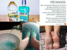 Easy peel of dry skin from feet: 1 cup of hot or warm water + cup of Listerine + cup of white vinegar. Soak your feet for 15 minutes and the dry skin starts to peel off. Listerine Foot Soak, Foot Soak Vinegar, Diy Beauty Hacks, Pedicure At Home, Foot Detox, Tips Belleza, Beauty Recipe, Health And Beauty Tips, Feet Care