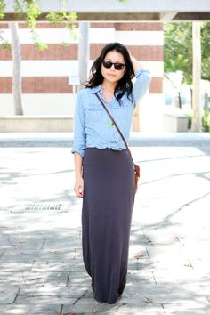 chambray + maxi skirt.. excited to wear my chambray shirt with my new black maxi skirt! ready for fall :)