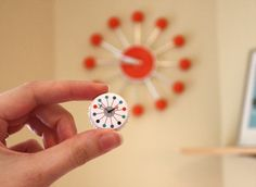 DIY mid century clock magnets made from bottle caps - How About Orange
