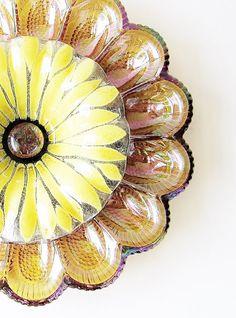 Amber Carnival Glass Egg Plate Garden Art Yard Decor Vintage Sunflower Suncatcher Reclaimed Material Upcycled Repurposed Fall AUTUMN