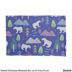Festive Christmas Mountain Bears Design Pillow Case Christmas Gift Wrapping, Christmas Gifts, Christmas Decorations, Christmas Bedding, Bear Mountain, Counting Sheep, Bear Design, Designer Pillow, Winter Christmas