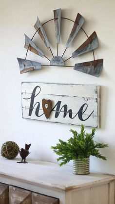 Rustic home sign, Farmhouse gallery wall, home gallery wall set, home sign with windmill, wooden home sign, fixer upper style, farmhouse decor, living room wall decor, home decor, rustic decor, housewarming gift idea #ad