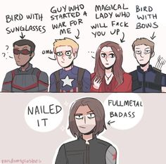 Lol how Bucky Barnes / The Winter Soldier remembers the Avengers. Art by randomsplashes. Funny Marvel Memes, Marvel Jokes, Dc Memes, Avengers Memes, Marvel Dc Comics, Ms Marvel, Captain Marvel, Marvel Universe, The Avengers
