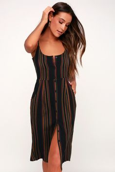 3eed8c5bcc0 Lulus | Medway Black Multi Striped Button-Up Midi Dress | Size Small | 100%  Rayon