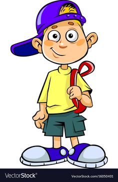 Boy with bag vector image on VectorStock Cartoon Boy, Cartoon People, Preschool Family Theme, Funny Paintings, School Clipart, Boy Images, Photo Backgrounds, Caricatures, Easy Drawings