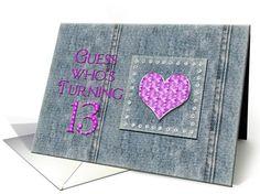 13th Birthday Party Invitations - Jewel-like gems -Jeans - Denim Card