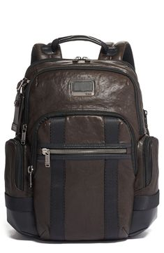 High-quality leather defines a well-made backpack designed for modern utility with an expandable body and external panel that attaches to luggage handles. Tumi Tracer is an exclusive, complimentary program that helps reunite lost or stolen bags with their rightful owners using a one-of-a-kind 20-digit number affixed to the bag. Style Name:Tumi Alpha Bravo Nathan Backpack. Style Number: 5990675. Available in stores.