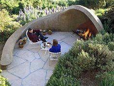 Organic outdoor fireplace