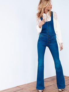 Retro Flared Overalls with lace blouse