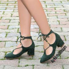 Şerzo Süet Yeşil Kısa Topuklu Ayakkabı