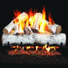 Peterson Real Fyre White Birch Gas Log Set With Vented Propane ANSI Certified Burner - Variable Flame Remote Fireplace Tool Set, Gas Fireplace Logs, Black Fireplace, Fireplace Design, Fireplace Ideas, Fireplace Redo, Gas Fireplaces, Electric Fireplaces, Modern Fireplace