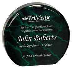 "Custom Engraved Green Marble Acrylic Circle Award (4.5"""")"