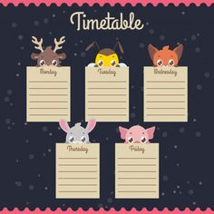 Schedule Design, Kids Schedule, School Schedule, Weekly Planner Template, Daily Planner Printable, School Timetable, Bullet Journal Cover Ideas, Doodle Frames, Mini Books