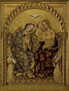 By Gentile da Fabriano (Italian, about 1370 - 1427), ca 1420, Coronation of the Virgin, tempera and gold leaf on panel.