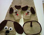 Hot perrito bufanda y manoplas, Crochet Patrón PDF 12-065