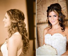 I have really long, dark, layered hair. For the ceremony I would like to have my hair down and curly. I would also like it to be parted on the side and slightly pinned back with little crystals in my hair. #DBBridalStyle