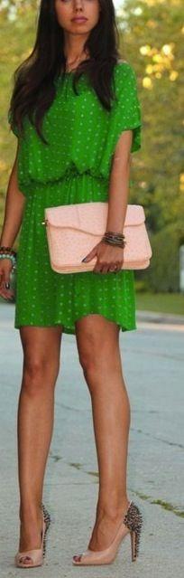 green polka dotted dress