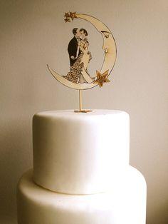 Art Deco Wedding Cake Topper Deco Moon by JolieEnRoseVintage