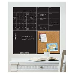 Product Image for WallPops!® Dry-Erase Calendar/Weekly Planner/Notes Board/Cork Board Set in Black 2 out of Weekly Calendar, Weekly Planner, Calendar Notes, Calendar Wall, Zeina, Ideias Diy, Startup, Dry Erase Board, Dry Erase Calendar Board