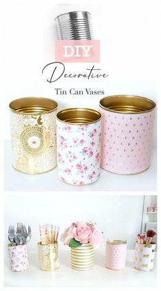 These DIY Decorative Tin Can Vases not only make pretty decor, they're also incredibly practical, easy to make and budget-friendly! Use these vases as a candle holder, flower vase, or container for st Tin Can Crafts, Diy Home Crafts, Jar Crafts, Crafts With Tin Cans, Tin Can Diy Projects, Decor Crafts, Coffee Can Crafts, Diy Home Decor Easy, Diy Décoration