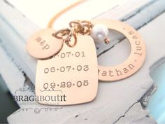 Personalized Hand Stamped Personalized Jewelry - 14K Gold Filled Personalized Jewelry - Family Dates