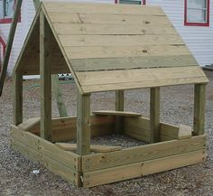 This summers project for the kids maybe! Sand box, and a roof so he stays cool. add a door and chicken wire to keep cats out??