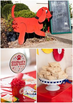 Clifford the Big Red Dog Birthday Party! Red Birthday Party, Dog Birthday, Third Birthday, Frozen Birthday, Birthday Celebration, Birthday Ideas, Storybook Party, Kids Party Themes, Party Ideas