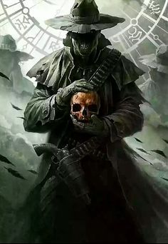 Cover art for The Shotgun Arcana (R. Belcher) by Raymond Swanland. Wild West undead Mage holding a skull. Dark Fantasy Art, Fantasy Artwork, Dark Art, Arte Horror, Horror Art, Cover Art, Art Noir, Arte Obscura, Angels And Demons