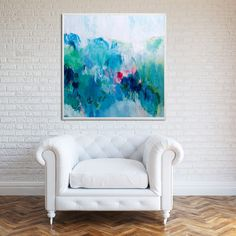 Gran impresión abstracta - 40 x 40- pintura azul con rosa verde blanco - pintura acrílica - pintura moderna Título: Resumen jardín 01This es una impresión de pintura abstracta de inyección de tinta, una reproducción Fine Art Giclée de la pintura abstracta original. Nuestra pintura que