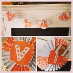 It is almost football time in TN! Rosette banner made using cricut ribbons and rosettes cartridge.