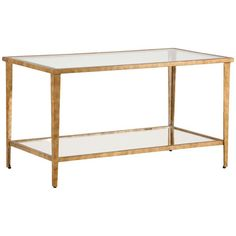 Chelsea House, Carson Gold Cocktail Table, Drink Table, Cocktail Table, Glass top and shelf, Antique gold leaf on iron