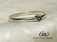 Natural London Blue Topaz 2mm Silver Sterling Ring Solitaire Ring Stackable Ring Statement Ring Promise Ring