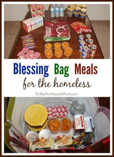 Create Blessing Bag Meals to have on hand in your car or donate to a homeless shelter to reach out to those in need. Homeless Bags, Homeless Care Package, Homeless Shelters, Homeless People, Homeless Donation, Just In Case, Just For You, Community Service Projects, Blessing Bags