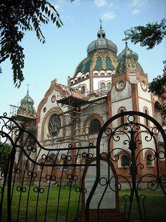 Synagogue art Nouveau, Subotica, Serbie, située dans la province autonome de Voïvodine, district de Bačka septentrionale.