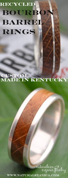 Wood Rings made with genuine Kentucky Bourbon Barrel. A wonderful wedding band for the bourbon lover! All rings are made to order with 100% recycled metals, by Naturaleza Organic Jewelry. Custom designs available.