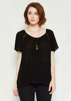 Park! Who Goes There  Top in Noir by ModCloth - Black cfd733d1b23d