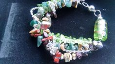 Rock chip bracelet green brown silver by Purrwoof on Etsy, $14.00